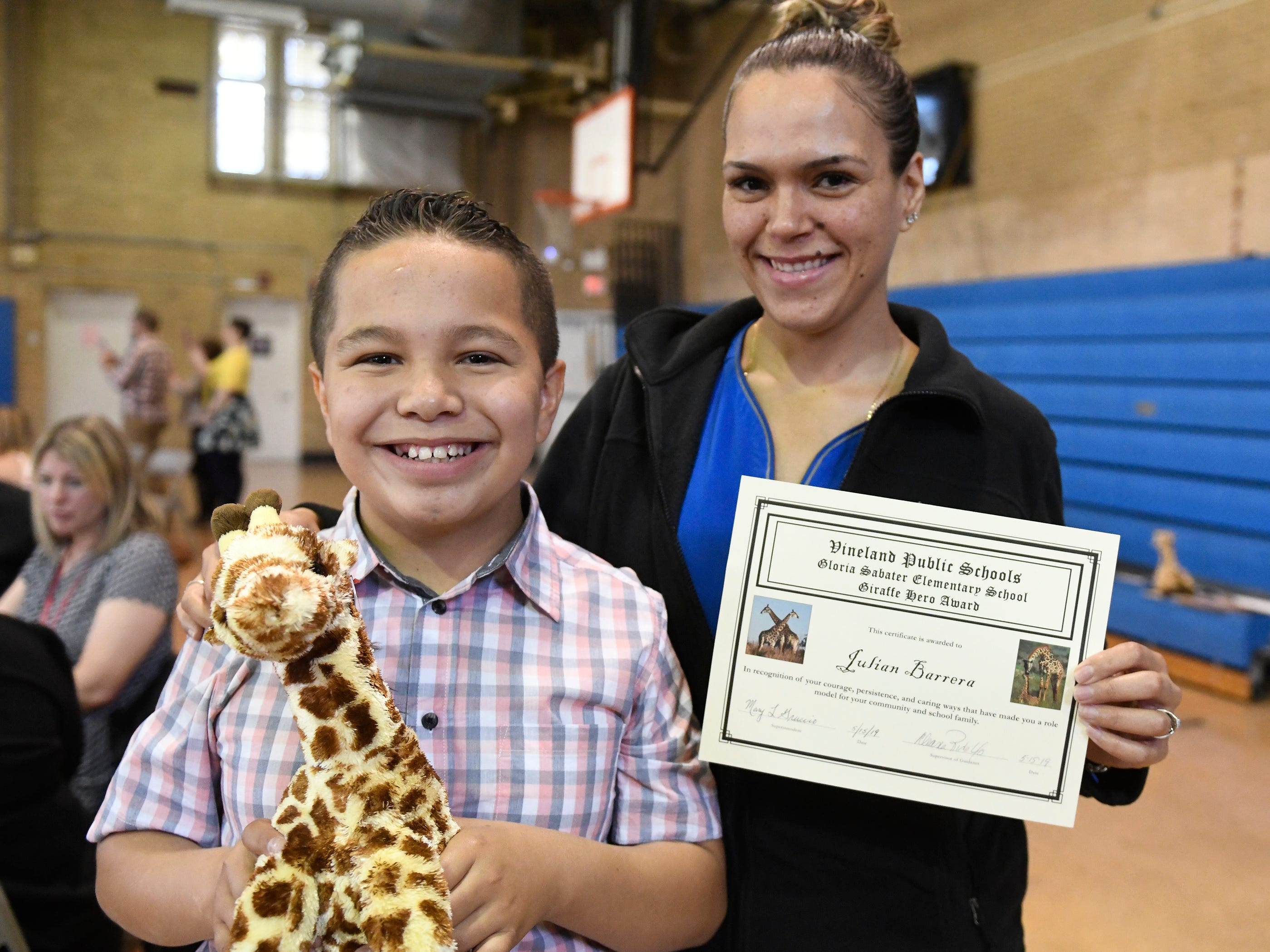 Sabater Elementary School student Julian Barrera was presented with a Giraffe Hero Award during a special ceremony on Wednesday, May 15, 2019.