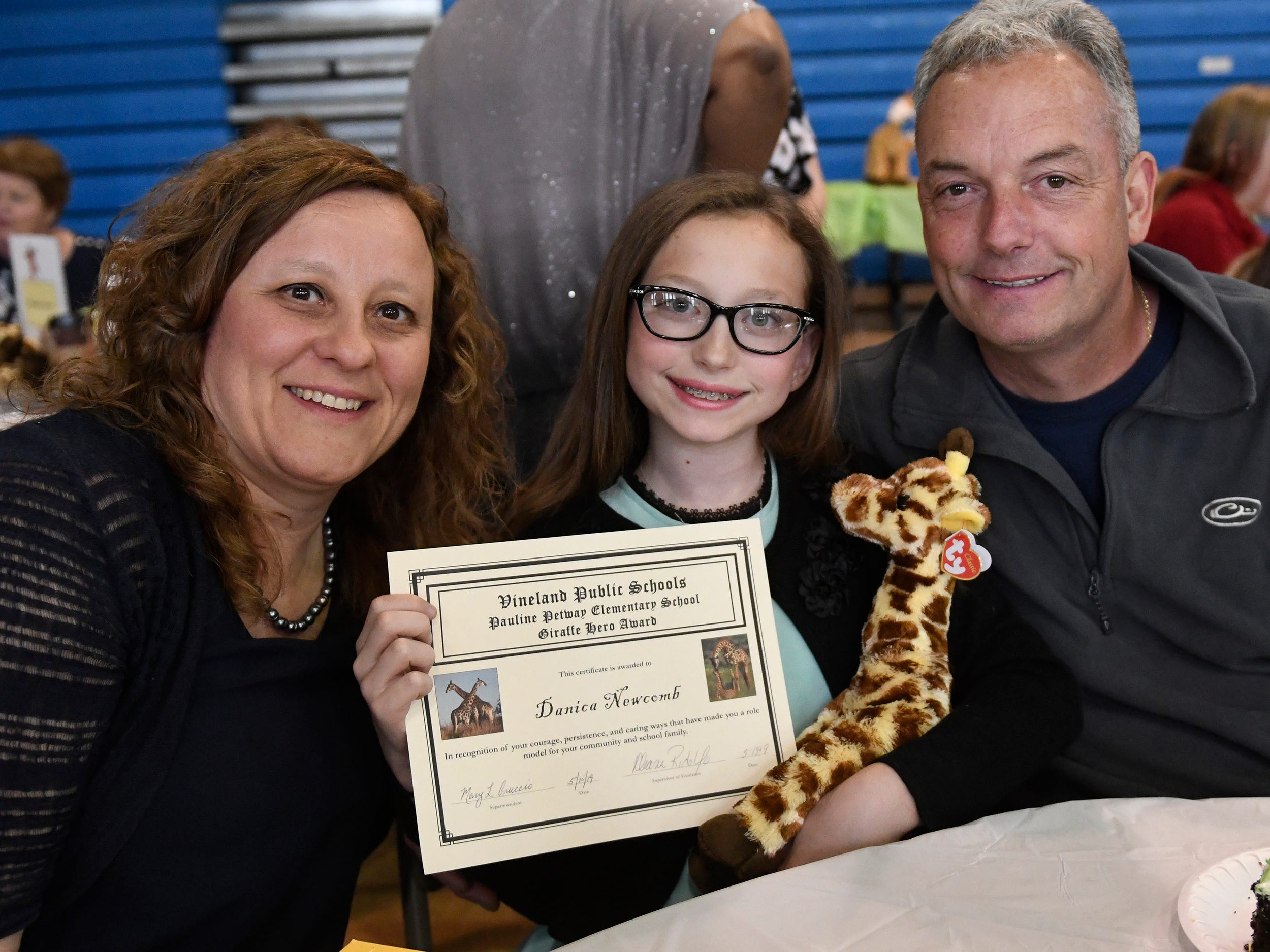 Petway Elementary School student Danica Newcomb was presented with a Giraffe Hero Award during a special ceremony on Wednesday, May 15, 2019.