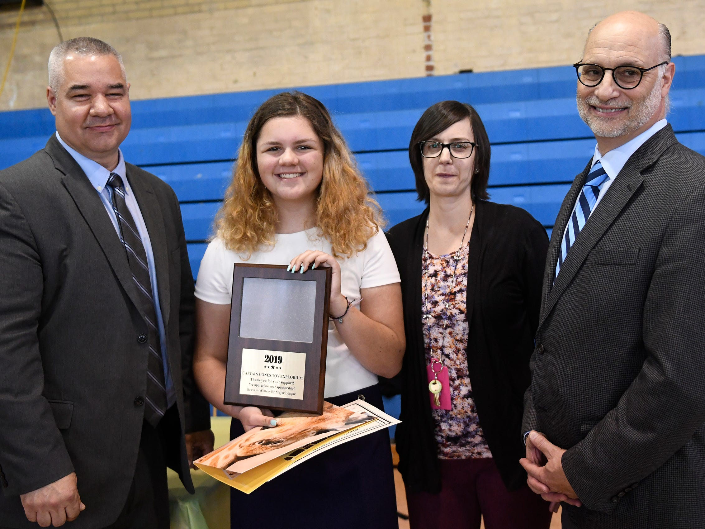 Johnstone Elementary School student Sofia Amato was presented with a Giraffe Hero Award during a special ceremony on Wednesday, May 15, 2019.