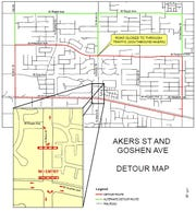 A detour map of the Akers Street and Goshen Avenue railroad improvement project.