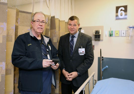 Glenn Albin, a registered nurse and a paramedic with the South Orangetown ambulance corps, and Dr. Jeff Rabrich,  the director of emergency medicine at Montefiore Nyack Hospital, talk about the medical phone app called Twiage, May 15, 2019.