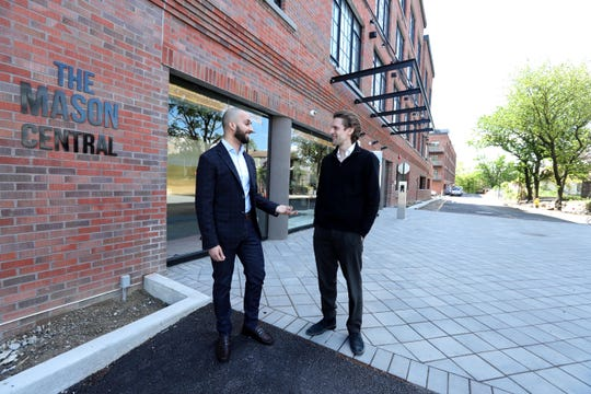 Hardeep Uppal, left, leasing manager at the Mason, and Joel Halpern, Development Manager for Halpern Real Estate Ventures, outside the Mason May 15, 2019. The luxury rental development is a new transit oriented community in Mamaroneck that is in the final stages of construction.