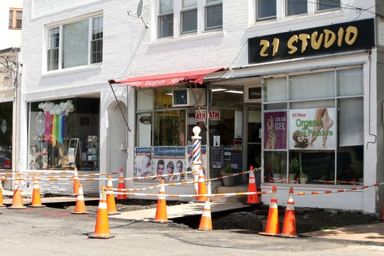 Construction continues on the sidewalks in downtown Chappaqua as part of an infrastructure and streetscape transformation May 15, 2019.