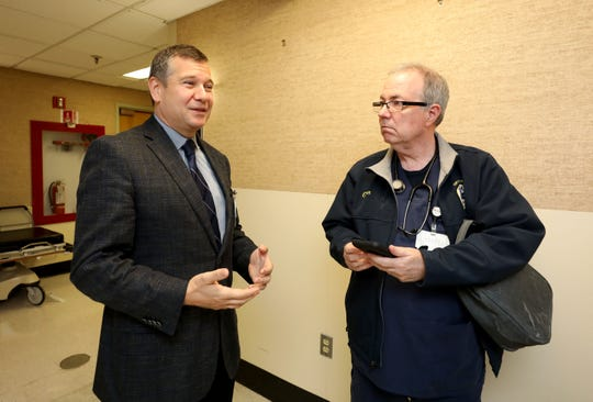 Dr. Jeff Rabrich, the director of emergency medicine at Montefiore Nyack Hospital, and Glenn Albin, a registered nurse and a paramedic with the South Orangetown ambulance corps, talk about the medical phone app called Twiage, May 15, 2019.