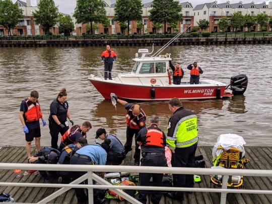 The Wilmington Fire Department rescued a woman from the Christina River Monday afternoon. She had reportedly jumped in and disappeared beneath the water before rescuers were able to pull her out.