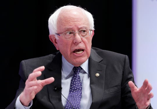 In this April 24, 2019, file photo, Democratic presidential candidate Sen. Bernie Sanders, I-Vt., answers questions during a presidential forum held by She The People on the Texas State University campus in Houston. Sanders has a new foil for the 2020 Democratic presidential primary: former Vice President Joe Biden. Biden has been a declared candidate for fewer than three weeks and already Sanders has emerged as one of his most ardent critics.(AP Photo/Michael Wyke, File)