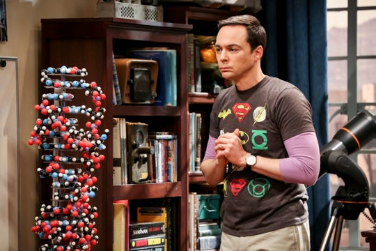 The DNA model, left, and Sheldon (Jim Parsons) both have significant roles to play in the series finale of 'The Big Bang Theory.'