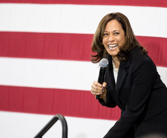 Democratic candidate for United States President Senator Kamala Harris addresses an audience during a town hall style meeting at Girls, Inc., in Nashua, New Hampshire, USA 15 May 2019.  EPA-EFE/CJ GUNTHER ORG