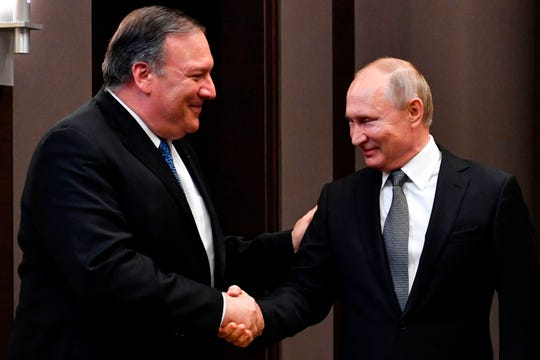 Russian President Vladimir Putin meets with Secretary of State Mike Pompeo at the Bocharov Ruchei residence in Sochi, Russia, on May 14, 2019.