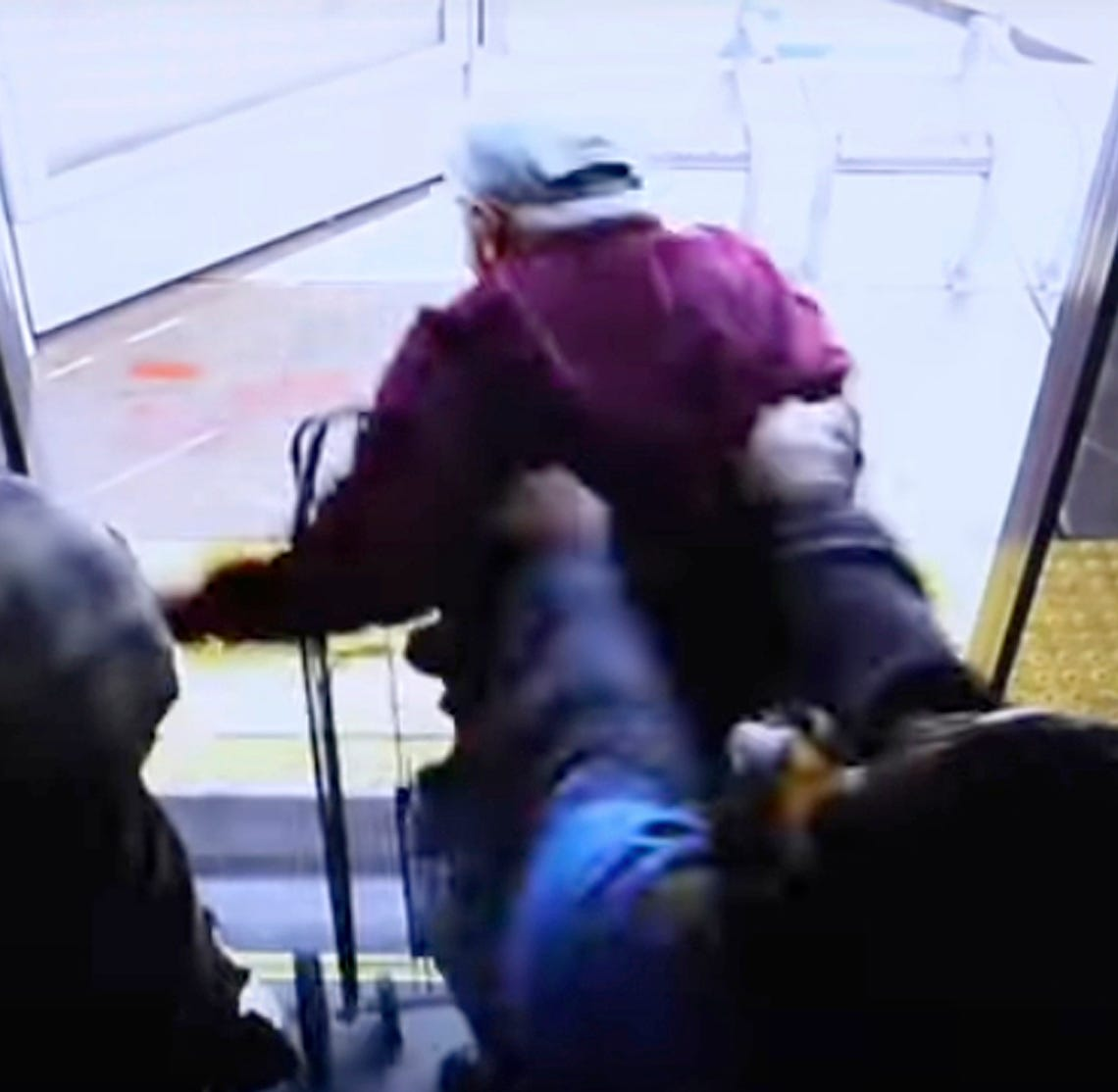 In this still image taken from security video and provided by the Las Vegas Metropolitan Police Department, a woman shoves a 74-year-old man off a public transit bus on March 21, 2019. The man, Serge Fournier, hit his head on the sidewalk and died a month later. The Clark County coroner ruled his death a homicide resulting from his injuries. Cadesha Michelle Bishop was arrested Monday, May 13, 2019, and is scheduled to appear in court on May 21.
