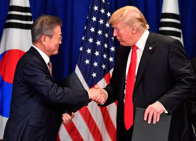 President Donald Trump and South Korean President Moon Jae-in.