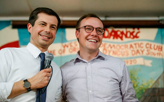Democratic presidential candidate Pete Buttigieg, left, and husband Chasten Buttigieg in South Bend, Indiana, on April 22, 2019.