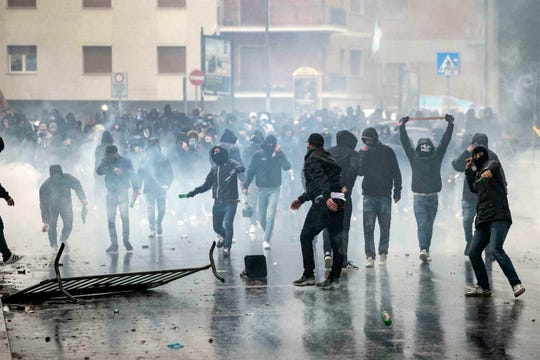 Lazio fans clash with police prior to the Italian Cup final on Wednesday.