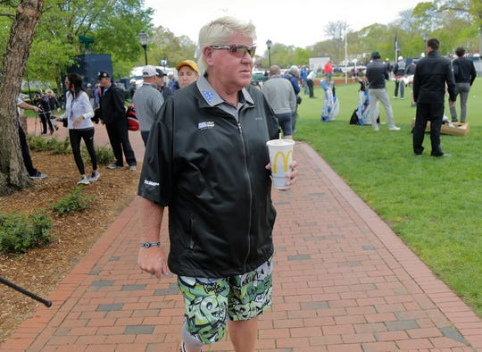 John Daly walked around the putting green Wednesday before his practice round for the PGA Championship.