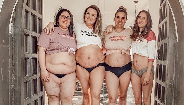 After sharing postpartum bods, four moms clap back at shamers who suggest 'tummy tucks'