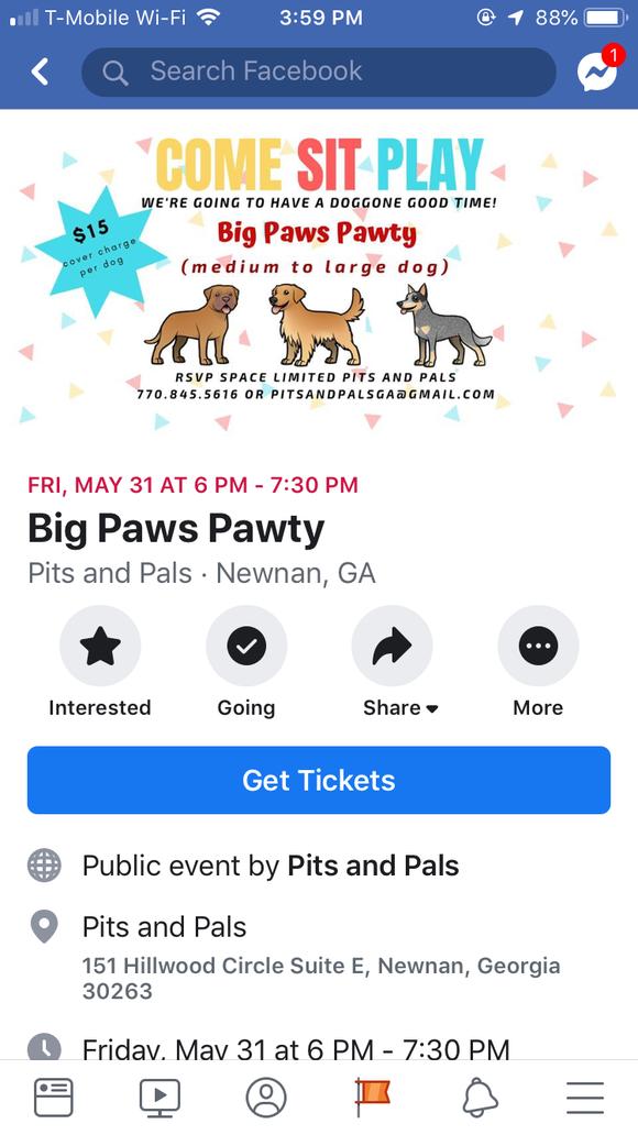 Facebook tickets example