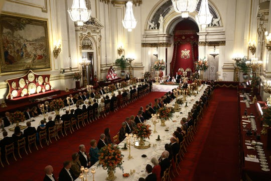 The Buckingham Palace Ballroom where Queen Elizabeth II hosted a State Banquet to mark the state visit of King Willem-Alexander of The Netherlands and Queen Maxima of The Netherlands on Oct. 23, 2018 in London.