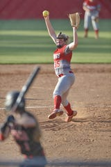 Palmetto's Faith Bowen delivers a pitch. Palmetto High hosted Hartsville in Game 2 of the Class AAAA softball tournament Wednesday, May 15, 2019.