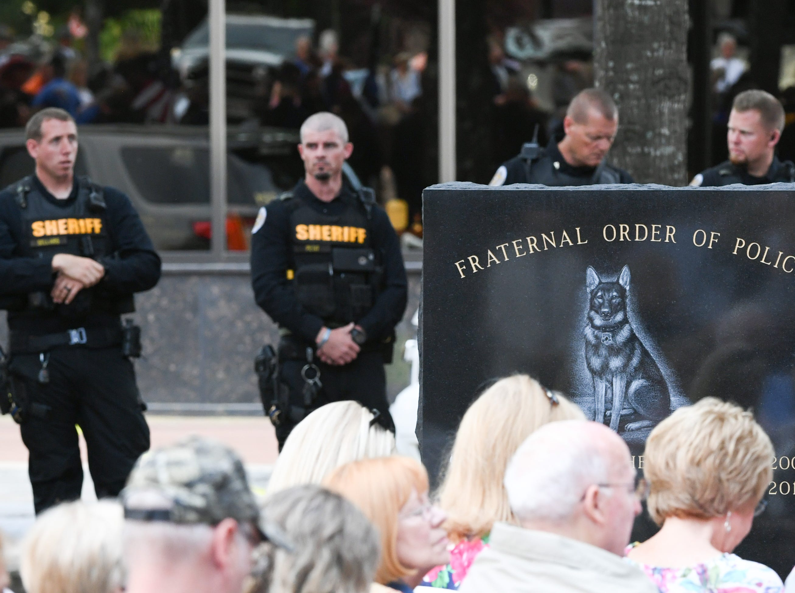A monunment honoring Duchess and Hyco, two dogs from Anderson County who died in the line of duty was unveiled during the 2019 Peace Officer Memorial Service in front of the Anderson County Courthouse Wednesday May 15, 2019.