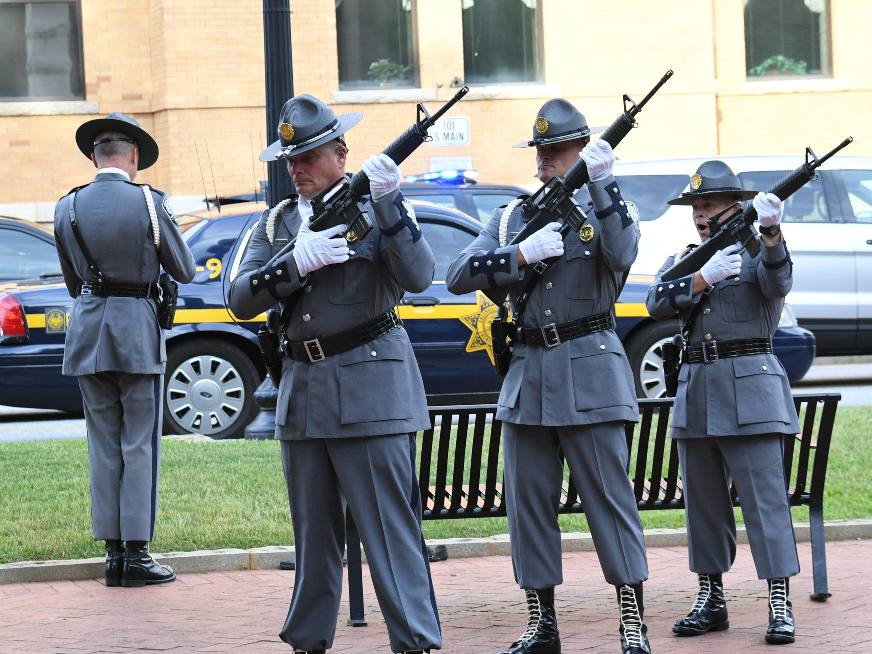 South Carolina Highway Patrol Honor Guard during the 2019 Peace Officer Memorial Service Wednesday May 15, 2019, in front of the Anderson County courthouse. People attended to help honor the lives of officers lost in the line of duty.