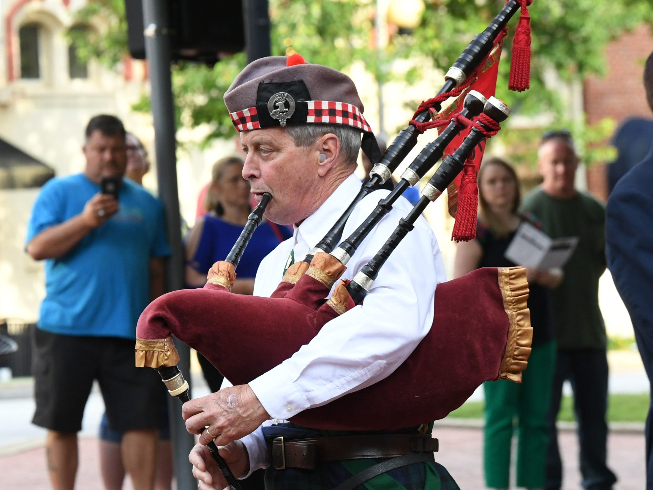 Preston Gravely plays Amazing Grace during the 2019 Peace Officer Memorial Service Wednesday May 15, 2019. People attended to help honor the lives of officers lost in the line of duty.