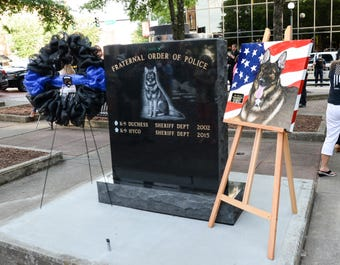 Fallen officers and K9 remembered at police memorial in Anderson