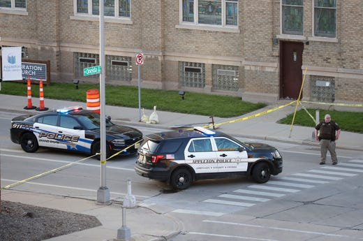 """Authorities investigate a shooting at the Valley Transit Center Wednesday, May 15, 2019, in Appleton, Wis. Paramedics took """"several"""" people to the hospital after a shooting, authorities said. Among the people injured is a police officer and a firefighter, Appleton Police spokeswoman Meghan Cash said.Dan Powers/USA TODAY NETWORK-Wisconsin"""