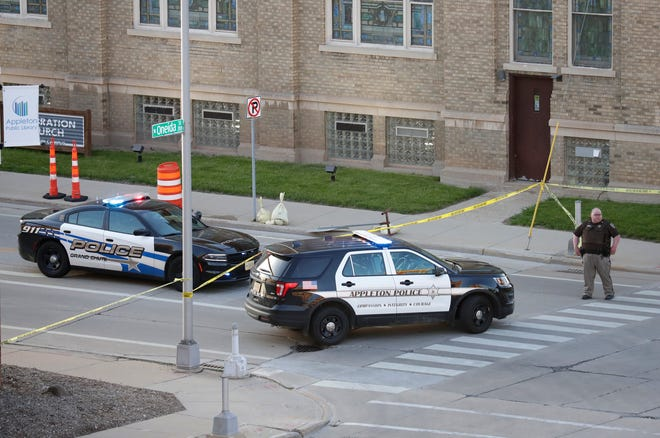 Police from multiple agencies respond to the May 15 shooting at the Valley Transit Center in downtown Appleton that left two people dead and two injured.