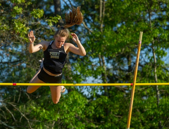 Riley Larsen, Point Pleasant Borough, takes first place in Girls Pole  Vault  with a 12 ft. 1 inch vault during the Shore Conference Track Championships at Central Regional High School in Berkeley, NJ on May 15, 2019.