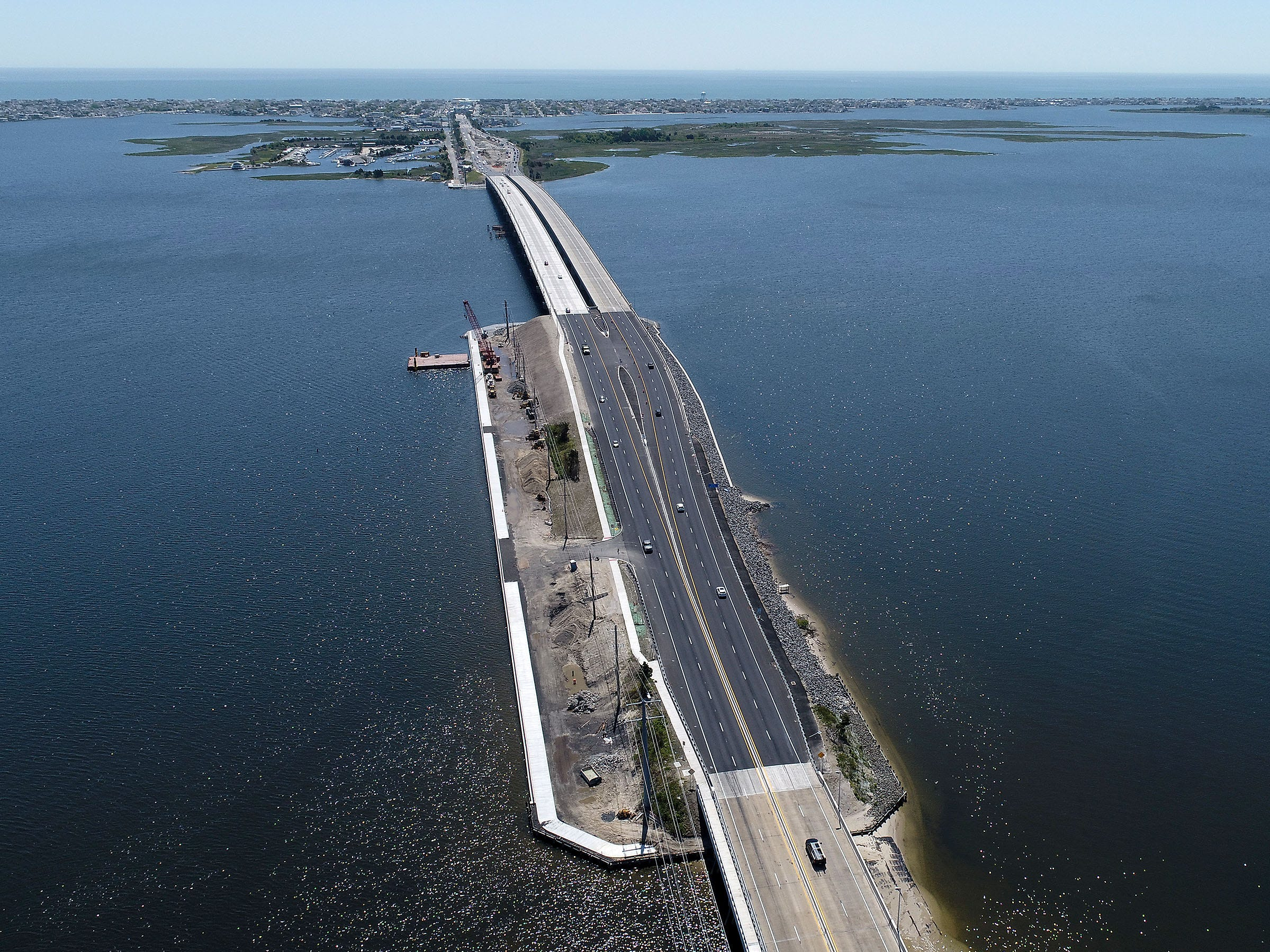 Construction has been completed on both spans of the Route 72 bridge over the Barnegat Bay.  This view on Wednesday, May 15, 2019, looks east from Stafford Township towards Ship Bottom.