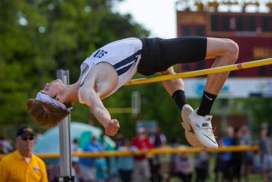 """Mark Anselmi, Middletown South clears 6' 6"""" to win the high jump at the Shore Conference Track Championships at Central Regional High School in Berkeley, NJ on May 15, 2019."""