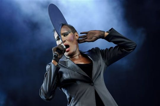 In a Sunday, July 3, 2011 file photo, Grace Jones performs at the Wireless Festival at Hyde Park in London.