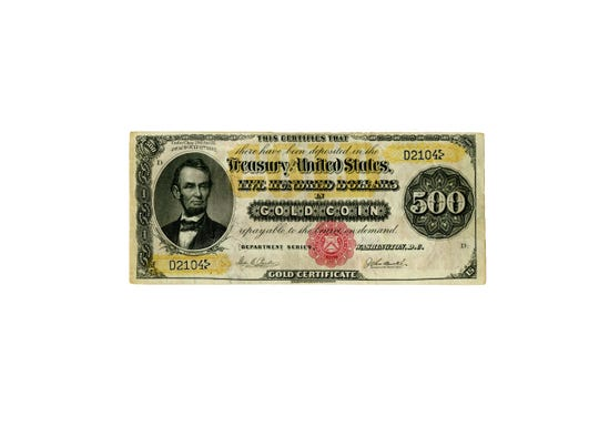 This is the front of a $500 gold certificate from 1882. A similar certificate was found in an Asbury Park home and is believed to have been sold for $1.4 million. The certificate is a focus of a criminal trial and a civil lawsuit