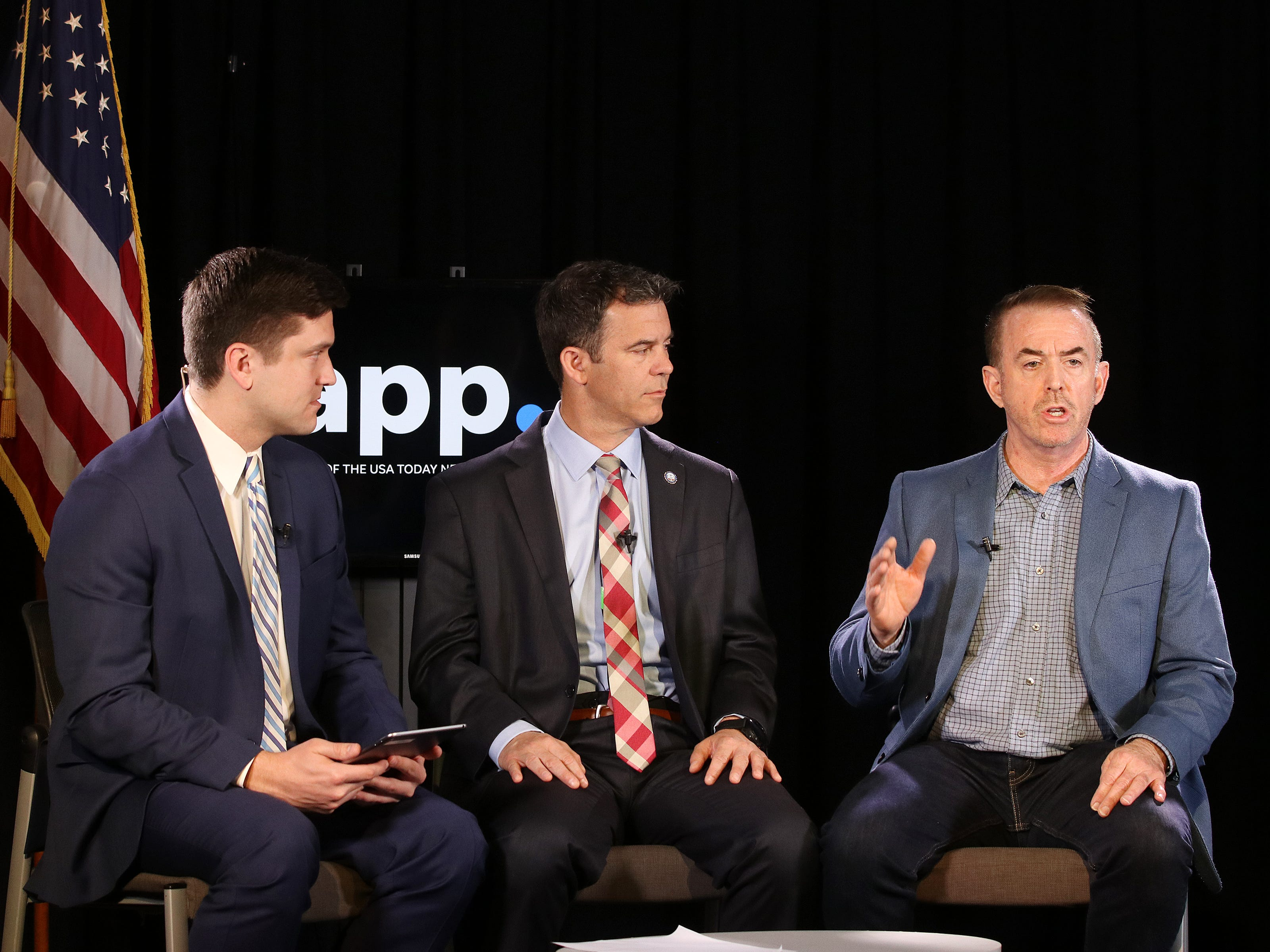 The Asbury Park Press, part of USA TODAY NETWORK, sits down with Monmouth County Prosecutor Christopher J. Gramiccioni to ask the prosecutor your questions about police involved shootings and fentanyl at the Jersey Shore at the Asbury Park Press in Neptune, NJ Thursday May 16, 2019. (left) Ryan Ross, host, and (right) Ken Serrano, investigations reporter, ask the prosecutor about fentanyl at the Jersey Shore.