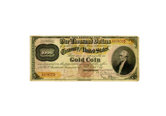 This is the front of a $1,000 gold certificate from 1882. A certificate similar to this was found in an Asbury Park home and is the focus of a criminal trial and a civil lawsuit. Image courtesy of National Numismatic Collection, National Museum of American History
