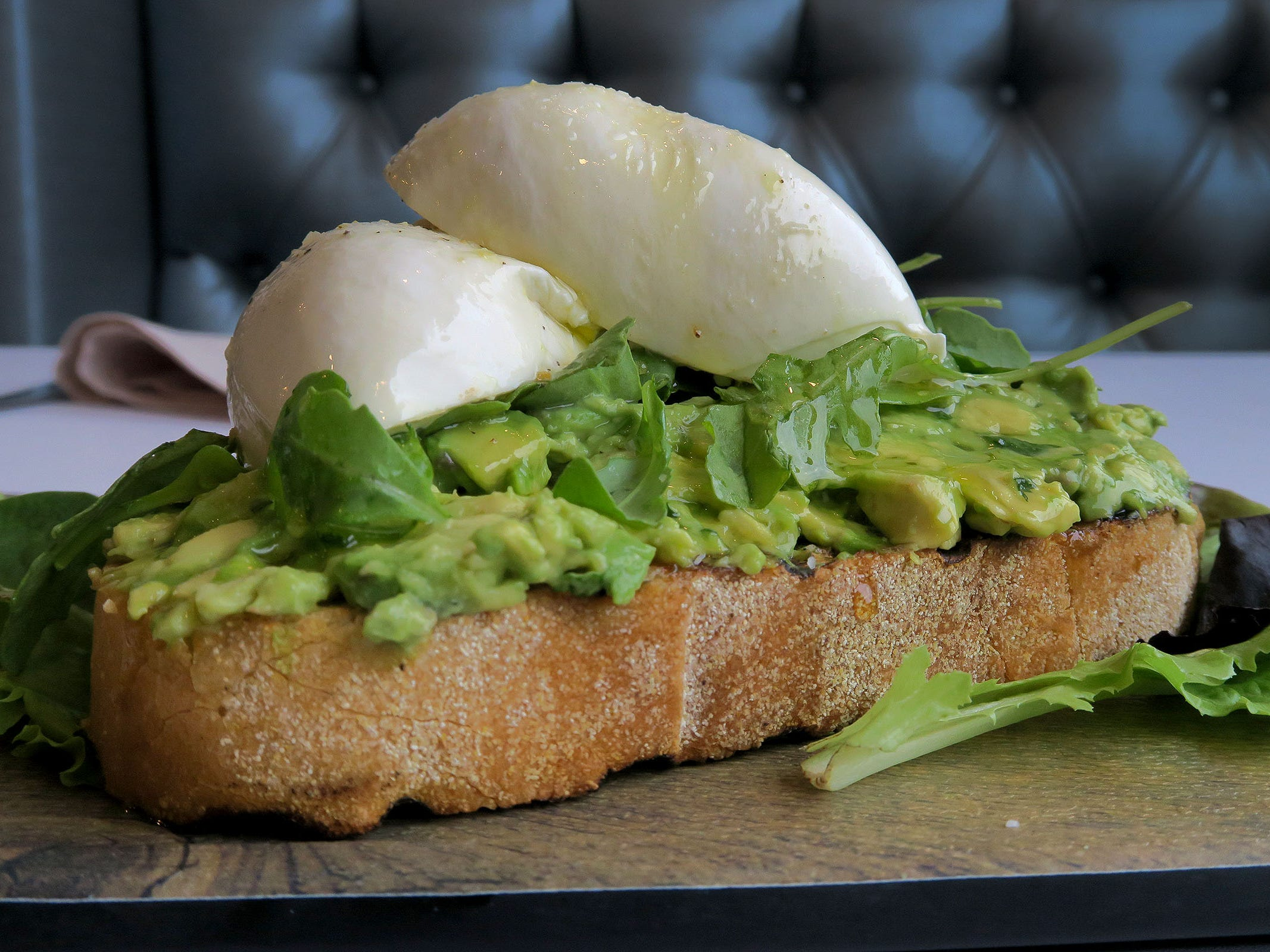 """The Avocado Toast w/ Burrata from the lunch menu at """"Caneda's White Rooster,"""" a year-old Toms River-based Cuban restaurant on Fischer Boulevard.  It features fresh avocado spread over buttered charred sourdough bread topped with burrata, honey and arugula."""