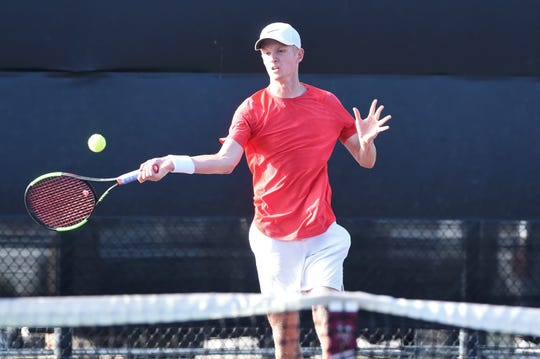 Holliday's Tyler Webb lines up a shot during the Class 3A boys singles quarterfinals at the state tournament in College Station on Thursday, May 16, 2019. Webb defeated Elysian Fields' Daniel Shelton 6-3, 6-1 to reach the semifinal.