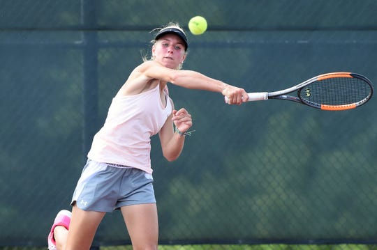 Eula's Anna Masonheimer follows through on a shot during the Class 1A girls singles quarterfinal match at the state tournament in College Station on Thursday. Masonheimer won 6-1, 6-2 to continue her title defense.