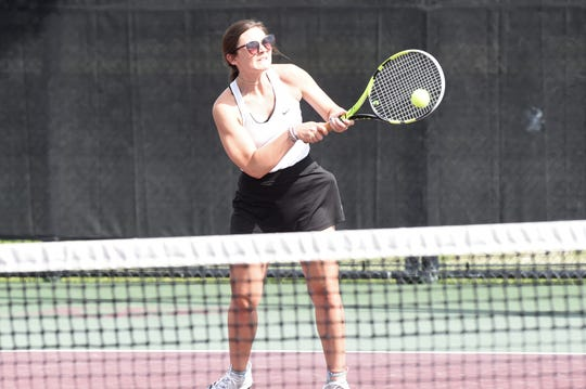 Archer City's Breanna Howard hits a shot during the Class 2A girls singles quarterfinals at the state tournament in College Station on Thursday, May 16, 2019. Howard fell 6-1, 6-3.