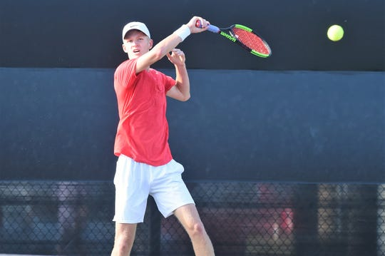 Holliday's Tyler Webb follows through on a shot during the Class 3A boys singles quarterfinals at the state tournament in College Station on Thursday, May 16, 2019. Webb defeated Elysian Fields' Daniel Shelton 6-3, 6-1 to reach the semifinal.
