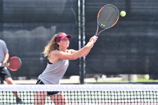 Eula's Haylee Sharp hits a shot at the next during the Class 1A mixed doubles quarterfinal at the state tournament in College Station. Sharp and partner Dakota Carson won 6-1, 6-1 to reach the semifinals.