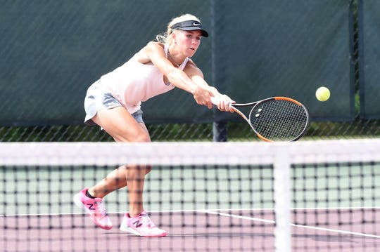 Eula's Anna Masonheimer goes to the net for a shot during the Class 1A girls singles quarterfinal match at the UIL state tournament in College Station on Thursday, May 16, 2019. Masonheimer won 6-1, 6-2 to continue her title defense.