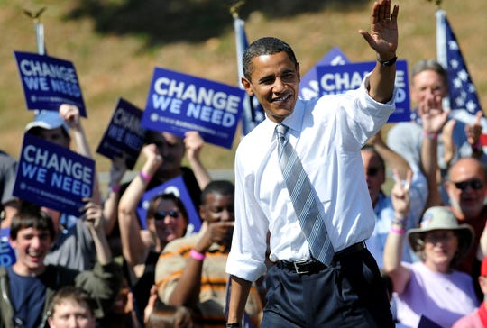 Presidential candidate Sen. Barack Obama speaks to a crowd of 22,000 people in the Asheville High School football stadium on Oct. 5, 2008.
