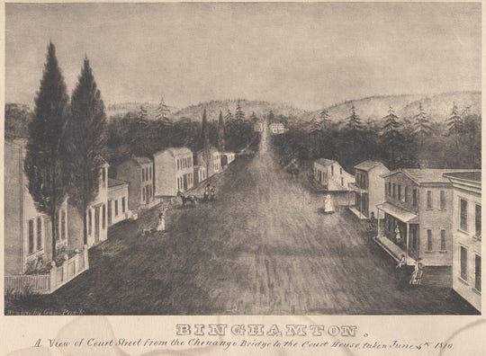 A view of Binghamton about 1810 showing the early Court Street.