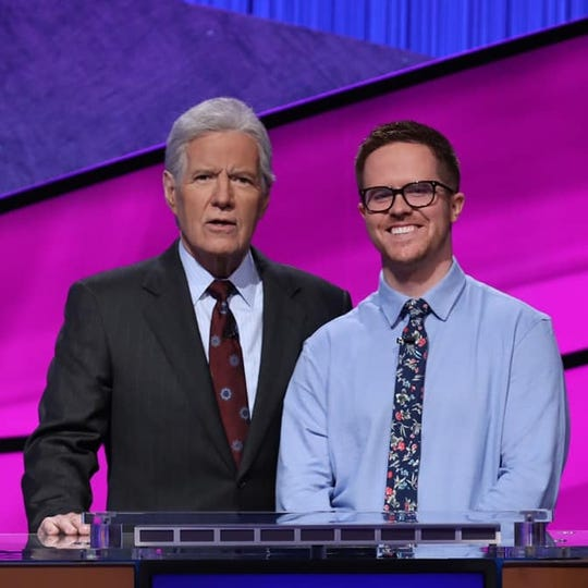 Pictured with Alex Trebek is Conor Quinn, a 29-year-old teacher from upstate NY, now a finalist in the Jeopardy! Teacher Tournament.