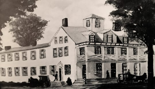 Peterson's Tavern on Front Street, the first meeting place for the village.