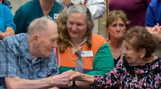 Ed Reinhardt, left, and Phyllis Carlson, right, celebrated their 103rd birthdays Wednesday at Life Care Center in Port Orchard.