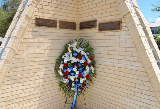 Anniversary Of The Palm Bay Shooting The Palm Bay police department held a wreath laying ceremony behind the Pam Bay police station in memory of two officers who died in 1987 in the line of duty - officer Ronald Grogan and officer Gerald Johnson.