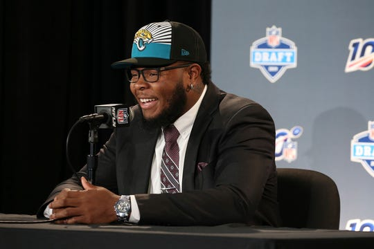 Florida's Jawaan Taylor at a press conference after the Jacksonville Jaguars selected the former Cocoa High star in the second round of the NFL football draft, Friday, April 26, 2019, in Nashville, Tenn.