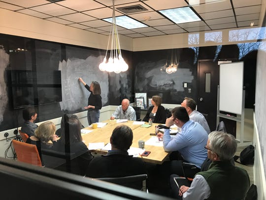 Judy Beningson and Steve Askew from Aquana work with a group of advisors during the Business Model Stress Test module.